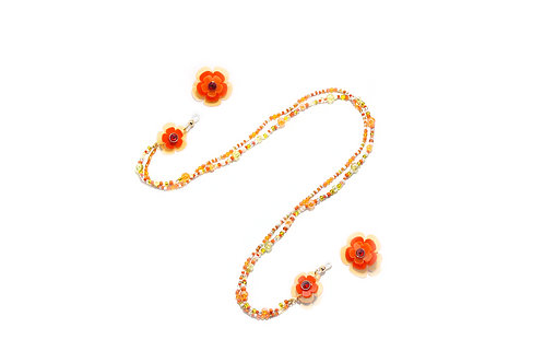 2 way eyeglasses chain with earring - Fluorescent Orange