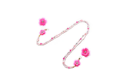 2 way eyeglasses chain with earring - Fluorescent Pink