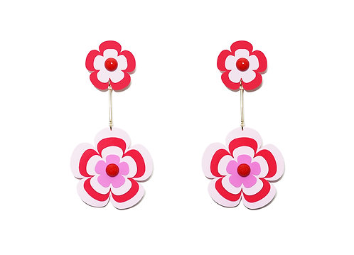 Fava earring in pink x red
