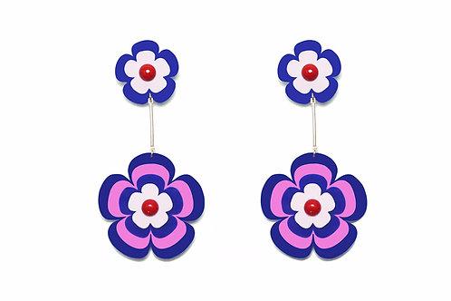 Fava earring in Pink X Navy