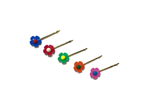 Rainbow fava hair clip set (5pc)