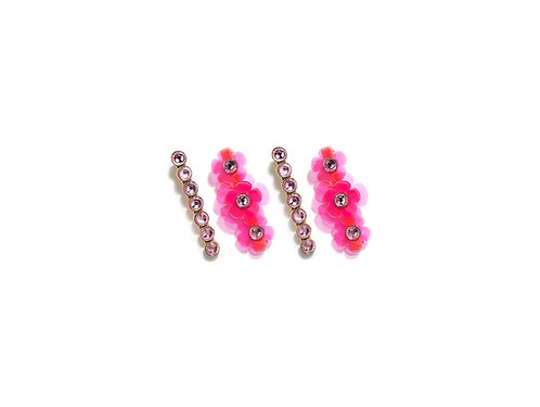 Gummy mini fava hairclip set (4pc) - Fluorescent Pink