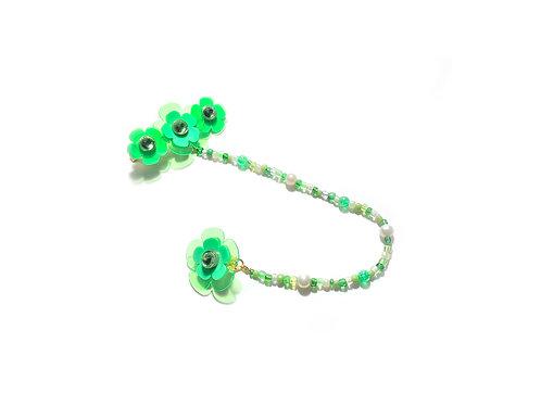 Poppi fava hairclip with earring -Fluorescent Green