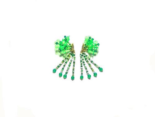 Hydrangea clip on earring - Fluorescent Green
