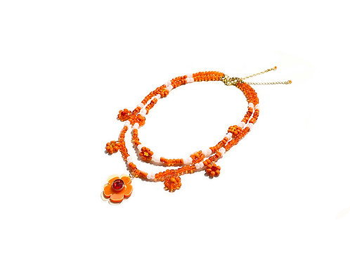 Beadi fava necklace x choker in Orange (2pc)