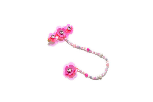 Poppi fava hairclip with earring -Fluorescent Pink