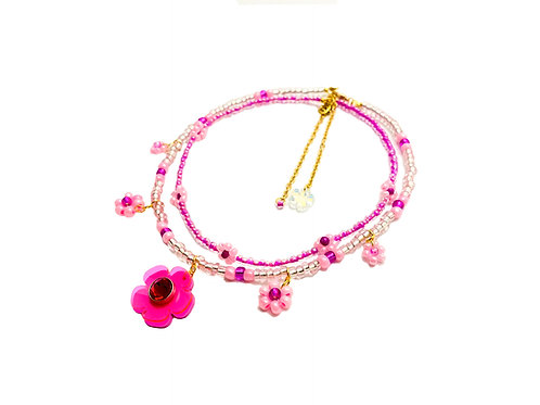 Beadi fava necklace x choker in fluorescent pink (2pc)