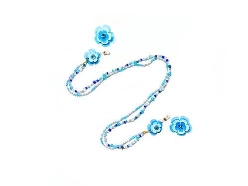 2 way eyeglasses chain with earring - Light blue