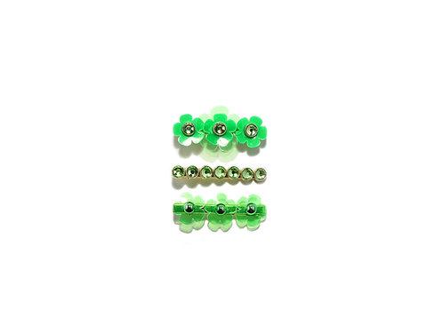 Gummy fava hairclip set (3pc) - Fluorescent Green