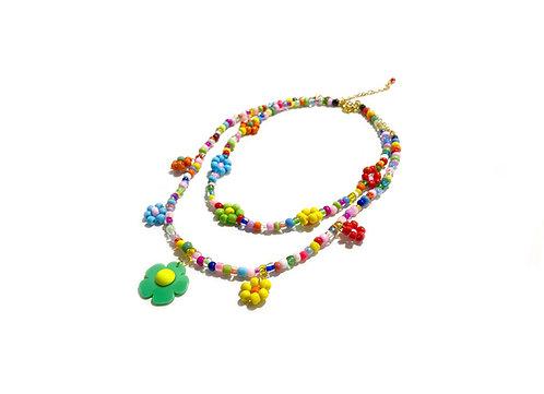 Rainbow beadi fava necklace x choker (2pc)