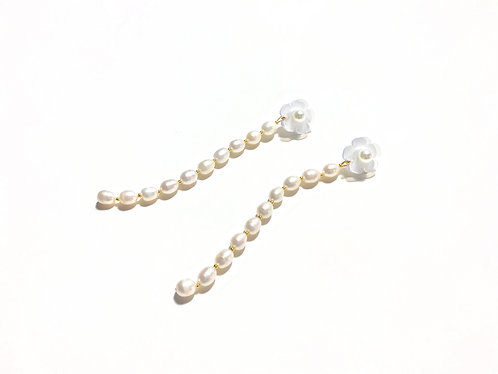 Fava mini dangle with pearl - Long