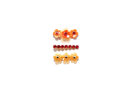 Gummy fava hairclip set (3pc) - Fluorescent Orange