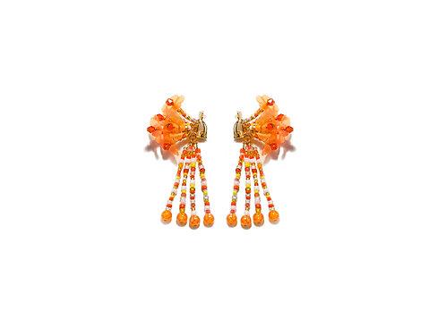 Hydrangea clip on earring - Fluorescent orange