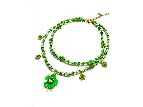 Beadin' fava necklace x choker in Green (2pc)