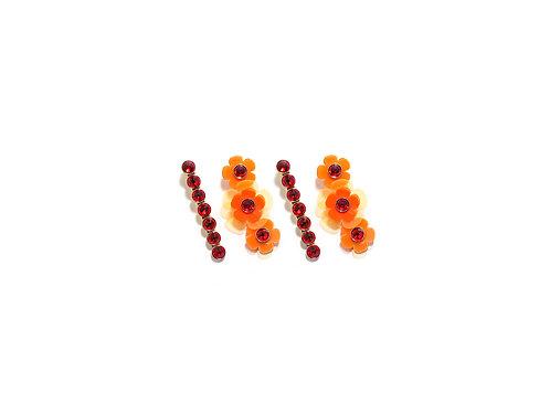 Gummy fava hairclip set (4pc) - Fluorescent Orange