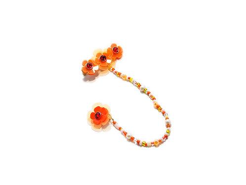 Poppi fava hairclip with earring -Fluorescent Orange
