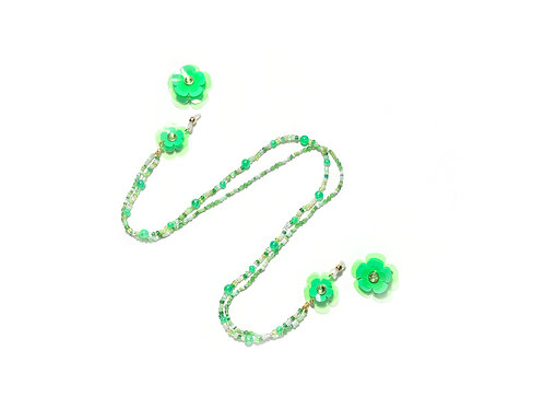 2 way eyeglasses chain with earring - Fluorescent green