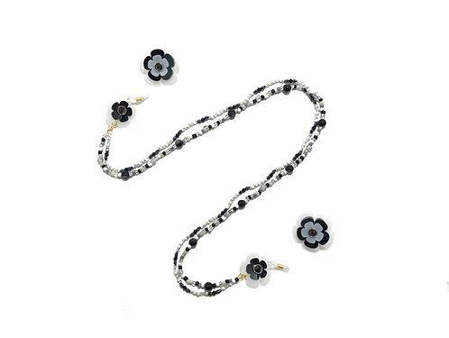 2 way eyeglasses chain with earring - Black & white