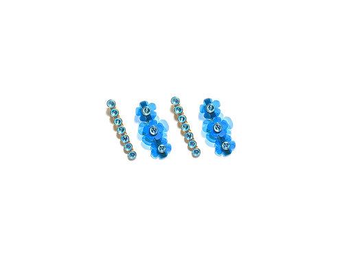 Gummy fava hairclip set (4pc) - Light Blue