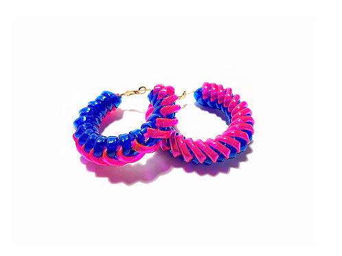 Braided loop earring -Blue & Pink
