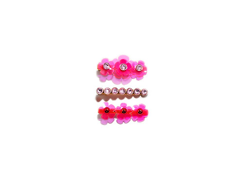 Gummy fava hairclip set (3pc) - Fluorescent Pink