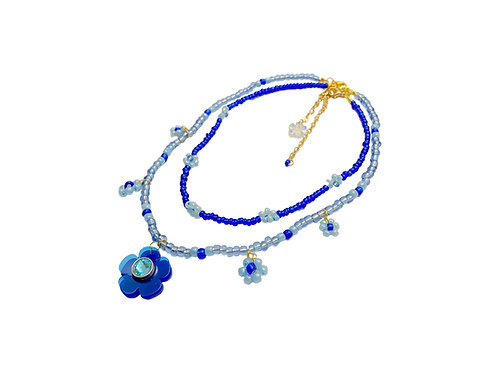 Beadi fava necklace x choker in electric blue (2pc)