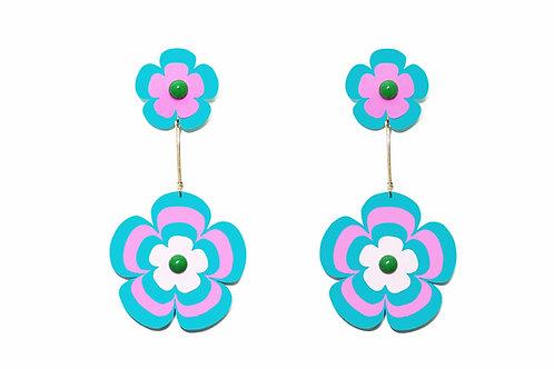 Fava earring in turquoise x fuchsia
