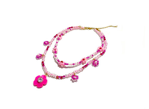 Beadi fava necklace x choker in Pink (2pc)