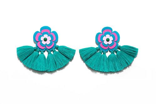 Sofie earring in turquoise x fuchsia