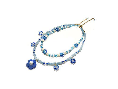 Beadi fava necklace x choker in Light blue (2pc)