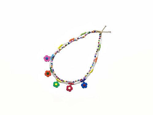 Fava rainbow mini necklace (2pc)
