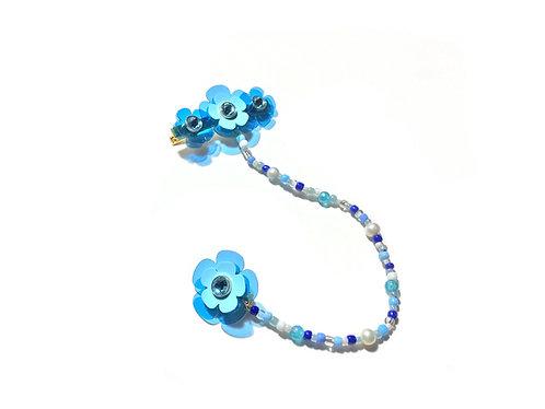Poppi fava hairclip with earring - Light Blue