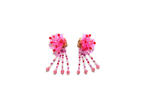 Hydrangea clip on earring -  Fluorescent pink