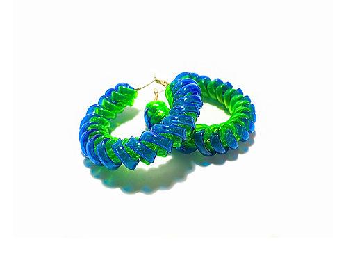 Braided loop earring -Blue & Green