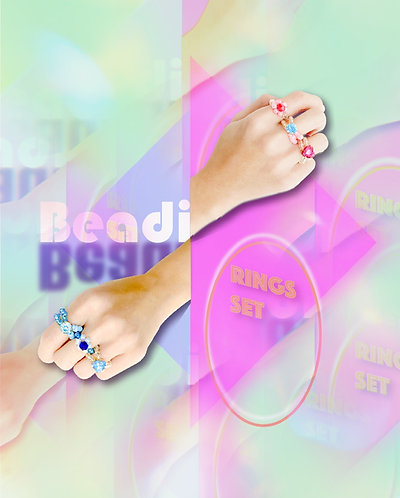 Beadi rings set in Light blue X Pink (3pc)