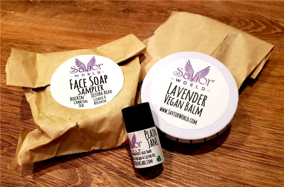 """A few of Savior World's handmade products: face soap, lavender vegan balm and """"Plain Jane"""""""