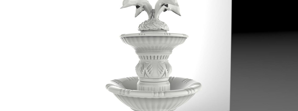 Fountain with dolphin crest