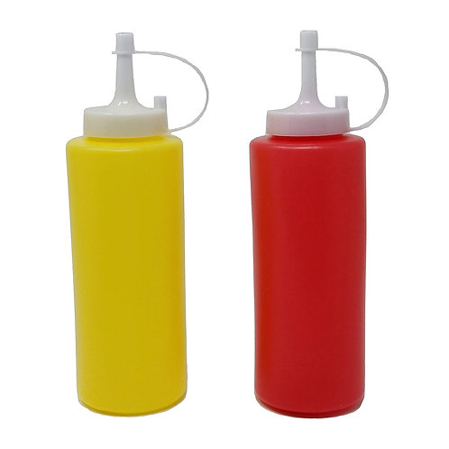 JVLM HOME Ketchup & Mustard Dispenser Condiment Set with Cap 13oz
