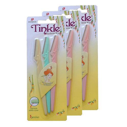 DORCO Tinkle Eyebrow Razor for Women Cheek Facial Hair Removers Trimmer 3 packs