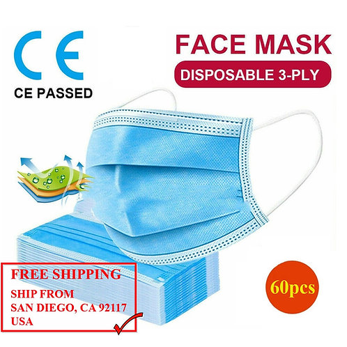 Medical Face Mask 3-Layers (60pcs)