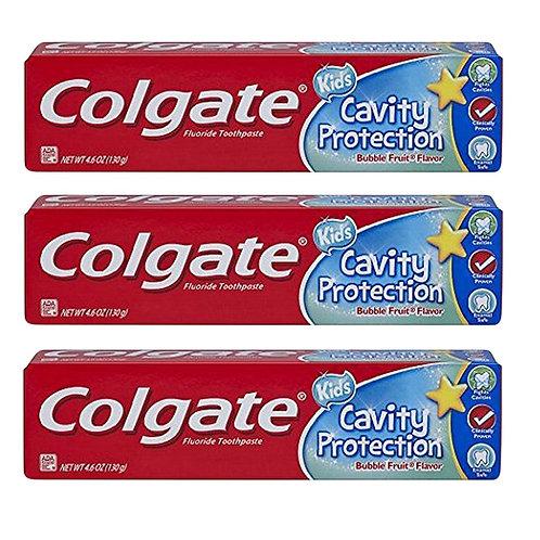 COLGATE Fluoride Kids Toothpaste Cavity Protection Bubble Fruit 2.5-2.7oz (3 pk)