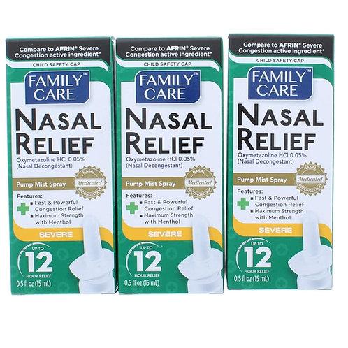 Family Care Nasal Relief Spray Pump Mist Oxymetazoline HCI 12 Hour (3 pack)