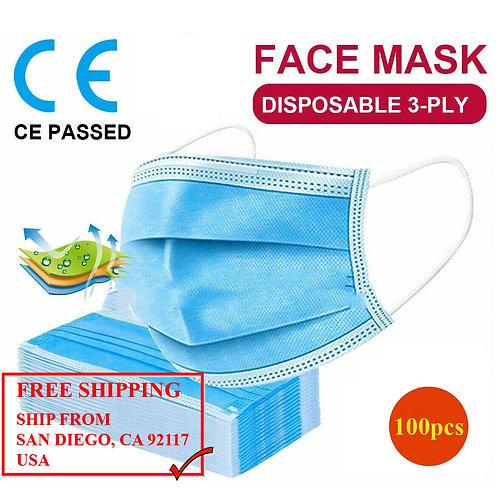 Medical Face Mask 3-Layers (100pcs)