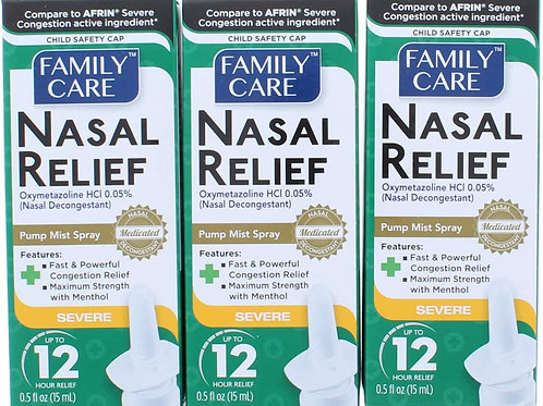 Family Care Nasal Relief Anti-drip Pump Mist - Oxymetazoline HCl (3 packs)