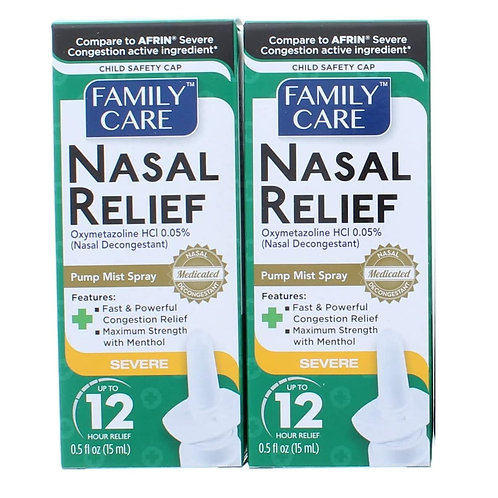 Family Care Nasal Relief Spray Pump Mist Oxymetazoline HCI 12 Hour (2 pack)