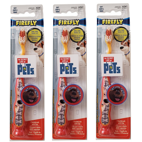 Firefly Secret Life of Pets Children's Tooth Brush Suction Cup & Cap (3 packs)