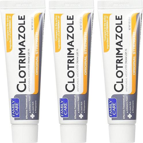 Family Care Clotrimazole Anti-Fungal Cream 1% USP Original Strength (3 packs)