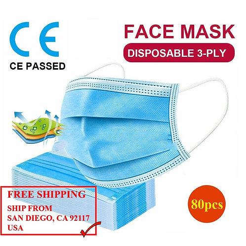 Medical Face Mask 3-Layers (80pcs)