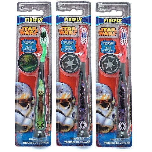 Star Wars Children's Tooth Brush with Cap & Suction (3 pack -Design Varies)