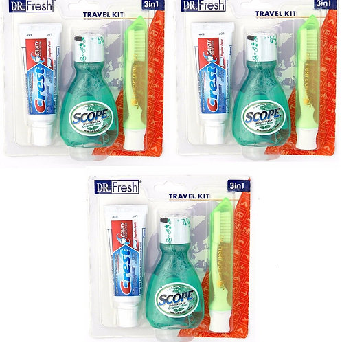Dr Fresh Travel Kit Crest Toothpaste Scope Mouthwash Toothbrush w/ Case (3 pack)
